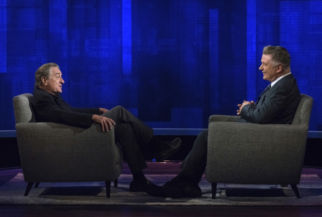 """This image released by ABC shows host Alec Baldwin, right, speaking with actor Robert De Niro during an appearance on """"The Alec Baldwin Show,"""" a talk"""