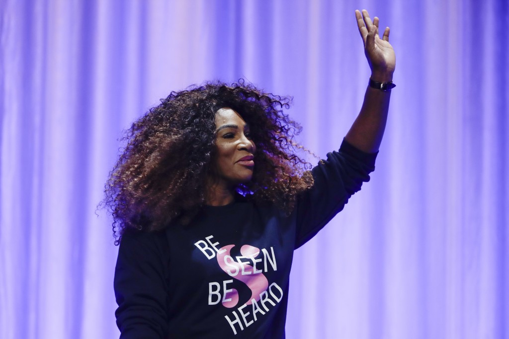 Serena Williams waves to members of the audience at the Pennsylvania Conference for Women in Philadelphia, Friday, Oct. 12, 2018. (AP Photo/Matt Rourk