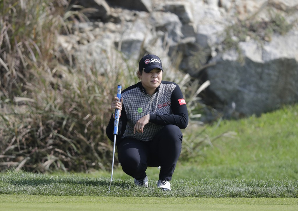 Ariya Jutanugarn of Thailand lines up her putt on the second hole during the third round of the LPGA KEB Hana Bank Championship at Sky72 Golf Club in