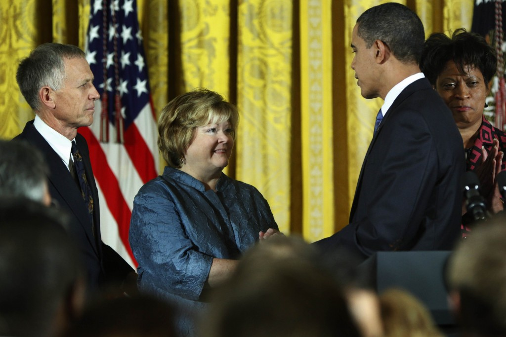 FILE - In this Oct. 28, 2009 file photo, President Barack Obama, greets the parents of Matthew Shepard, Dennis and Judy, during a White House receptio