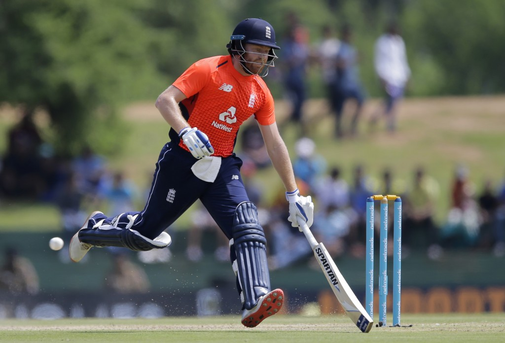 England's Jonny Bairstow runs between wickets during their second one-day international cricket match against Sri Lanka in Dambulla, Sri Lanka, Saturd