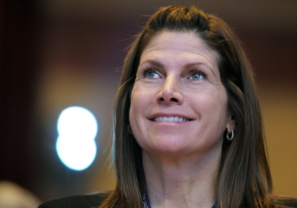 FILE - In this Feb. 12, 2011, file photo, then-Rep. Mary Bono, R-Calif., listens at the Conservative Political Action Conference (CPAC) in Washington.