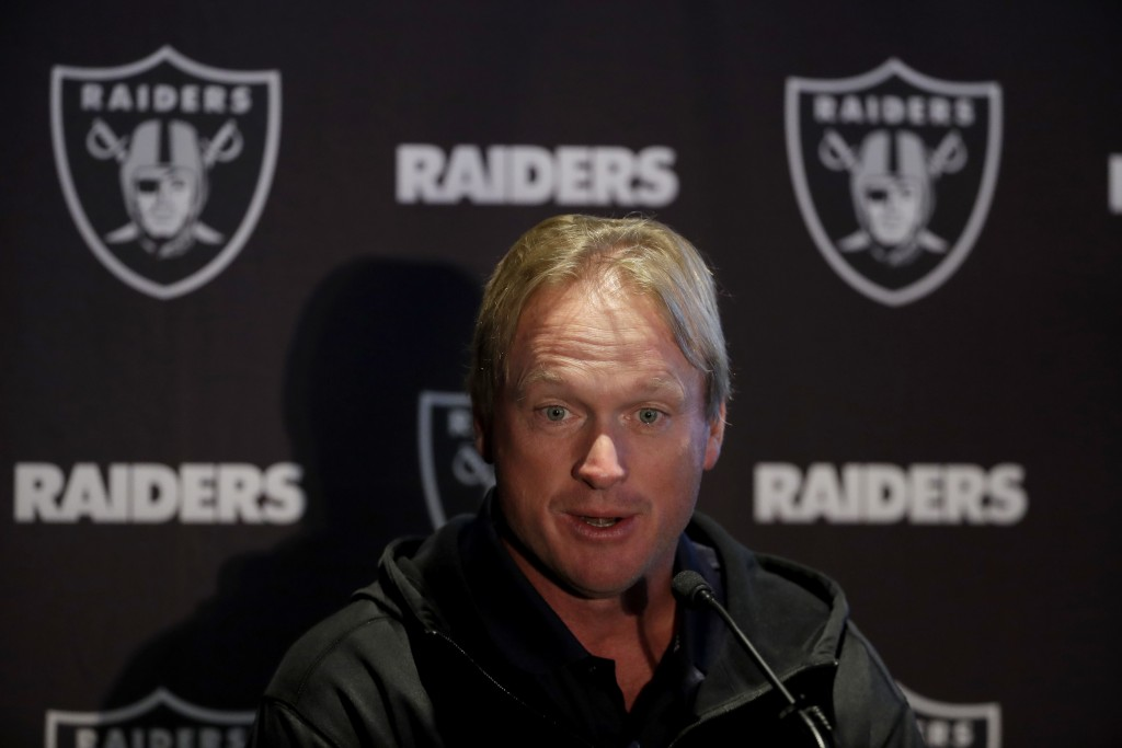 Oakland Raiders head coach Jon Gruden speaks during a press conference at the Hilton London Wembley hotel in London, Friday, Oct. 12, 2018. The Oaklan