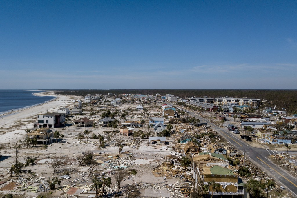 This aerial photo shows debris and destruction in Mexico Beach, Fla., Friday, Oct. 12, 2018, after Hurricane Michael went through the area on Wednesda