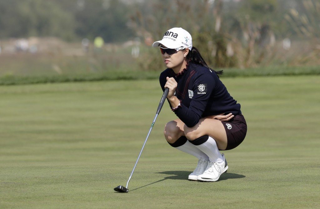 Minjee Lee of Australia lines up her putt on the 6th hole during the third round of the LPGA KEB Hana Bank Championship at Sky72 Golf Club in Incheon,