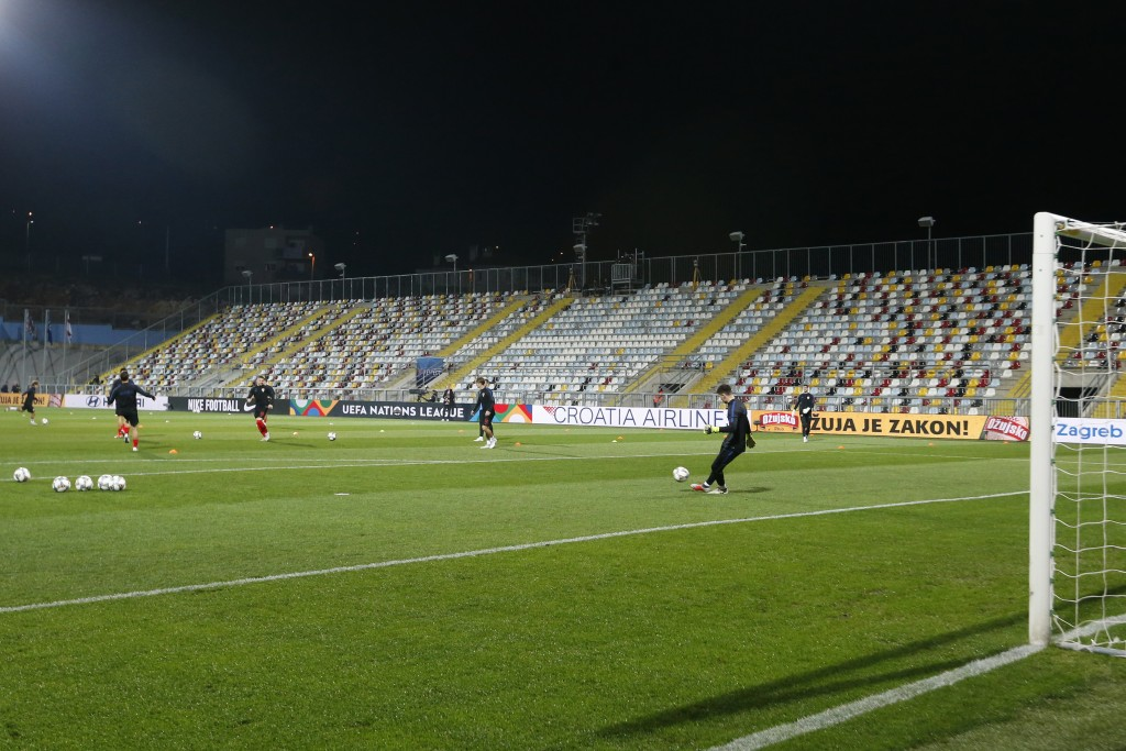 Croatian players warm up in a stadium without spectators prior the UEFA Nations League soccer match between Croatia and England at Rujevica stadium in