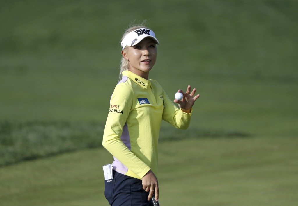 Lydia Ko of New Zealand reacts on the 18th hole after finishing the third round of the LPGA KEB Hana Bank Championship at Sky72 Golf Club in Incheon,