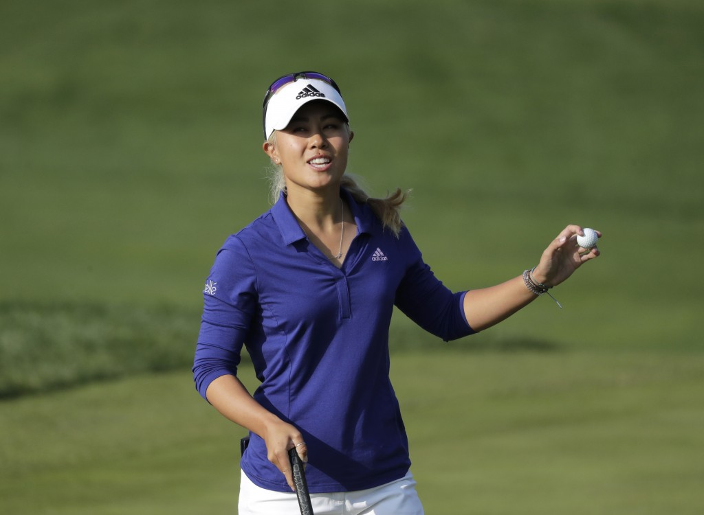 Danielle Kang of the United States reacts on the 18th hole after finishing the third round of the LPGA KEB Hana Bank Championship at Sky72 Golf Club i