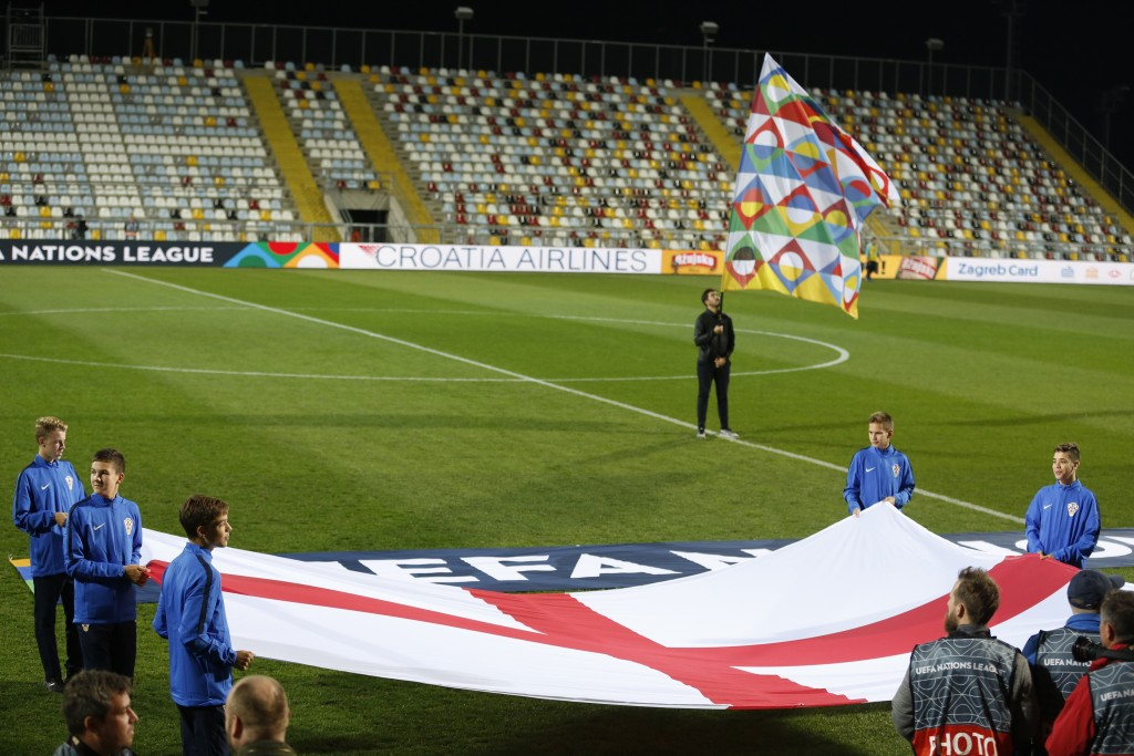 In a stadium without spectators the flag of England is displayed prior to the UEFA Nations League soccer match between Croatia and England at Rujevica