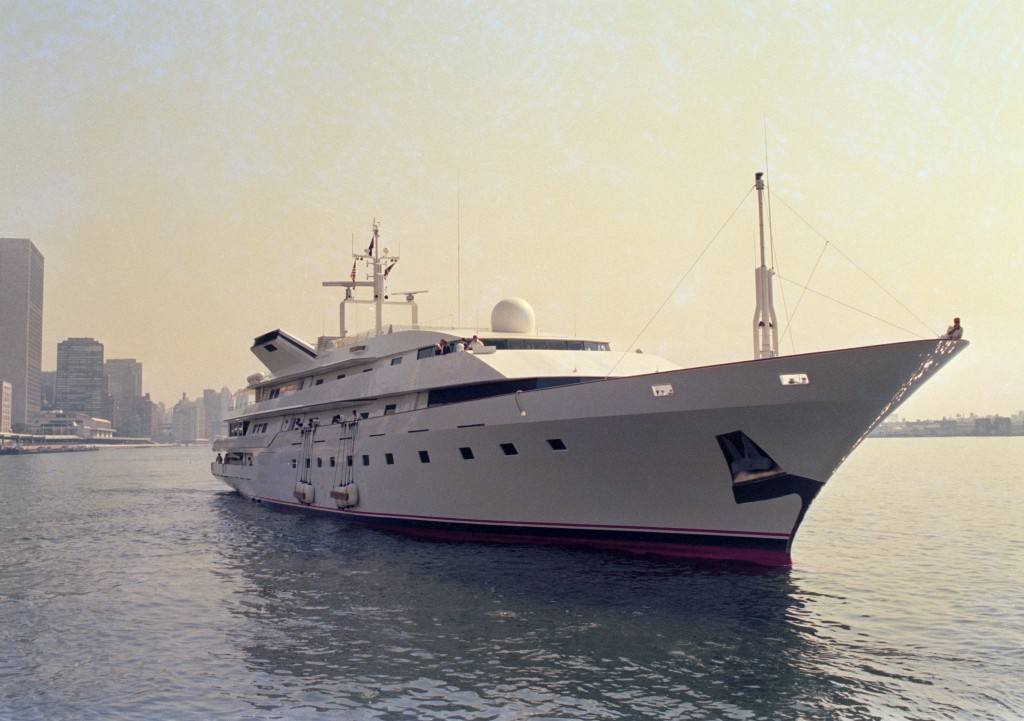 FILE - This is a July 4, 1988 file photo of Donald Trump's yacht, the Trump Princess, in New York City. In 1991, as Trump was teetering on personal ba