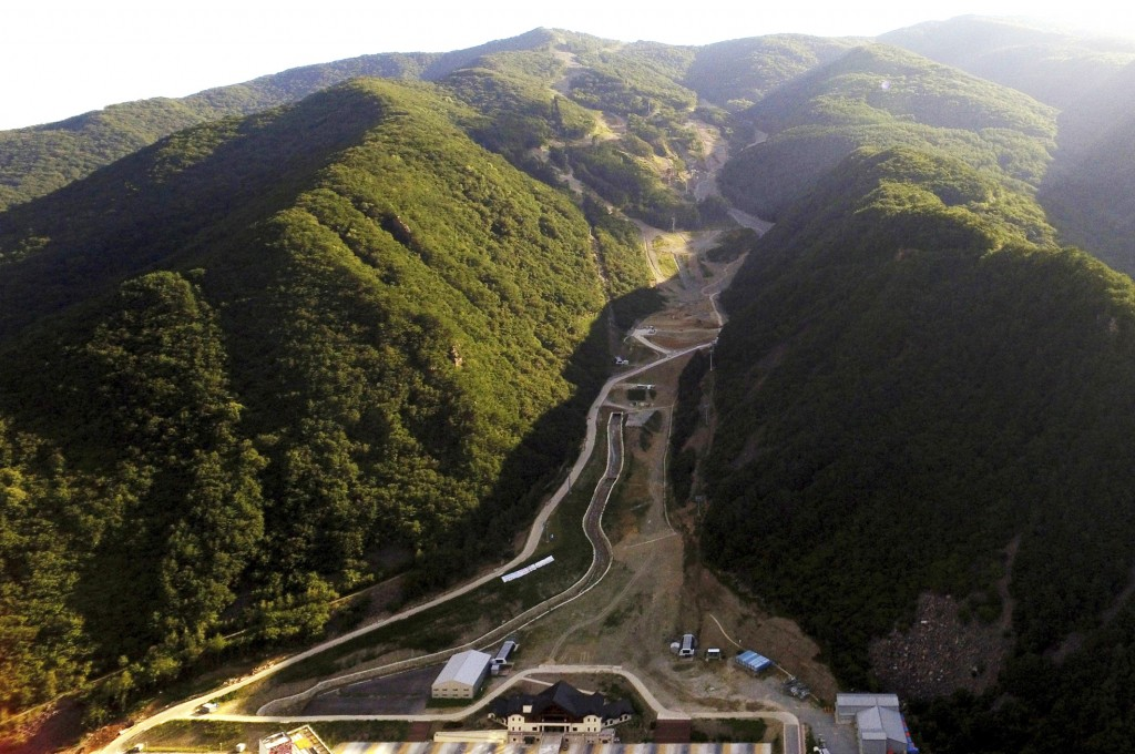 FILE -This Sept. 9, 2018, file photo, shows an aerial view of the downhill slope of the 2018 Pyeongchang Winter Olympics at the Jeongseon Alpine Cente
