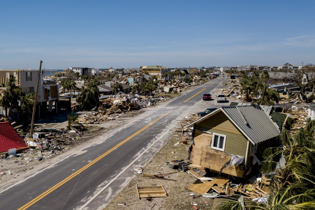 This photo shows debris and destruction in Mexico Beach, Fla., Friday, Oct. 12, 2018, after Hurricane Michael went through the area on Wednesday. Mexi