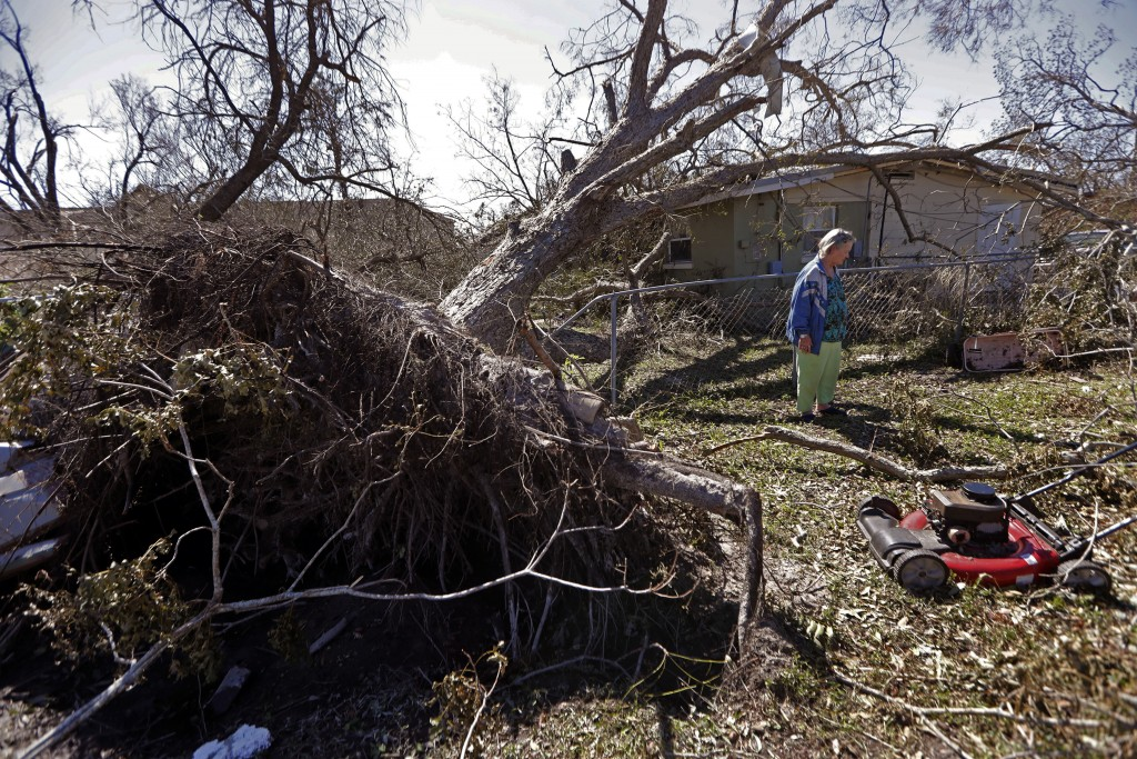 Mary Frances Parrish shows her toppled pecan tree, which fell in a neighbor's house, in the aftermath of Hurricane Michael in Panama City, Fla., Satur...