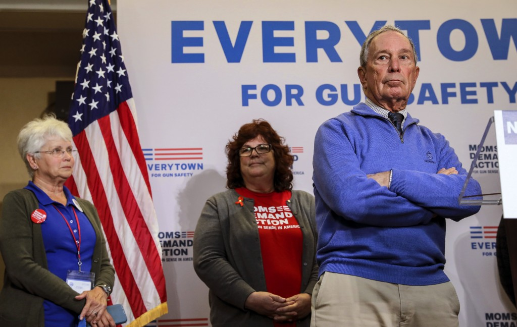 Former New York City Mayor Michael Bloomberg takes questions after speaking at a Moms Demand Action gun safety rally at City Hall in Nashua, N.H. Satu