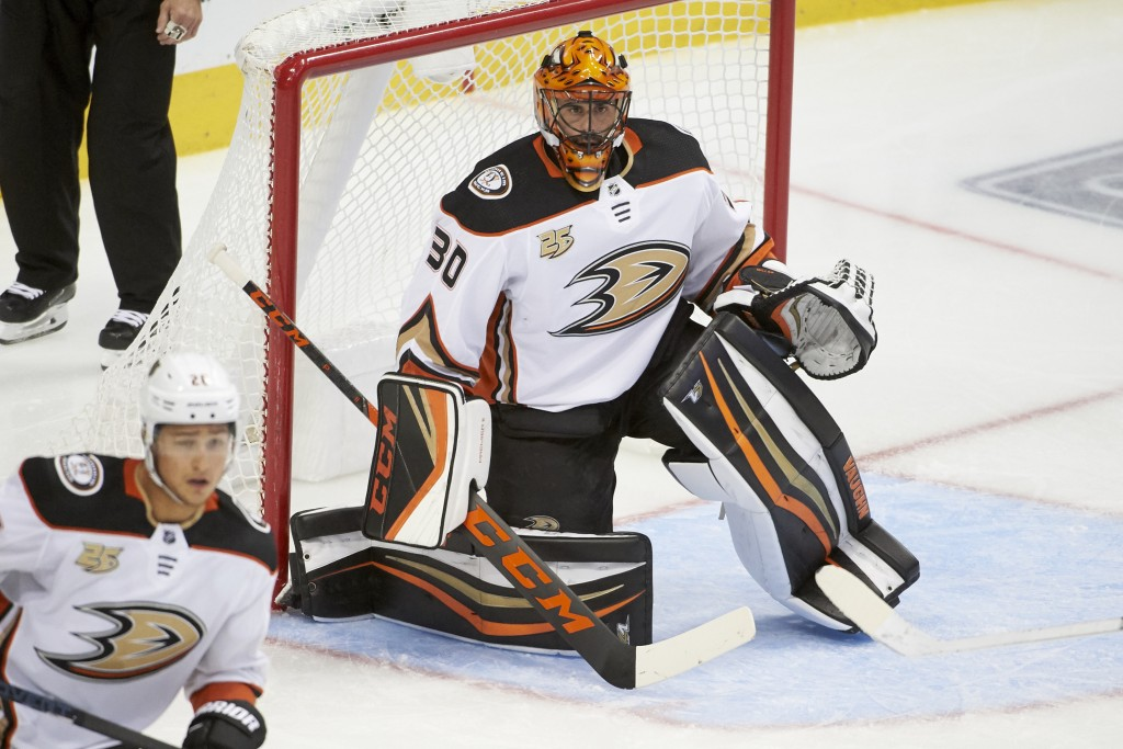 Anaheim Ducks goaltender Ryan Miller (30) defends against the Dallas Stars during the third period of an NHL hockey game Saturday, Oct. 13, 2018, in D