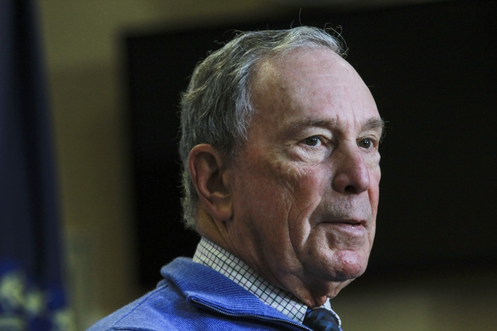 Former New York City Mayor Michael Bloomberg speaks at a Moms Demand Action gun safety rally at City Hall in Nashua, N.H. Saturday, Oct. 13, 2018. (AP