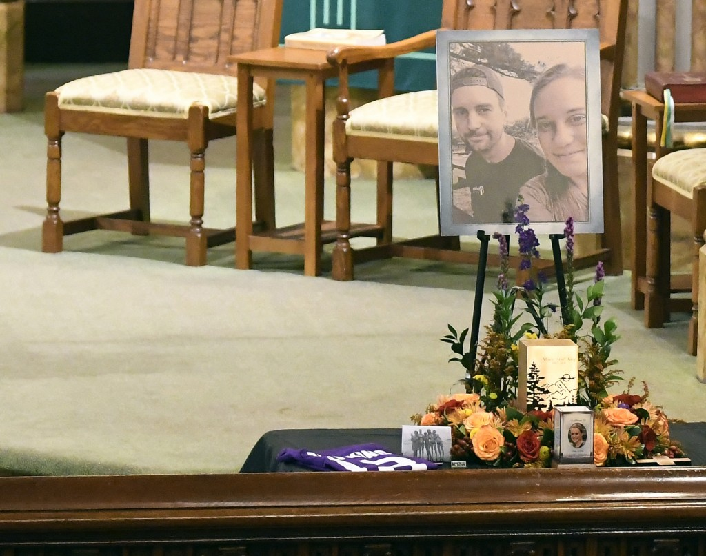 A urn with cremated ashes of Allison King is set in place as friends and family prepare for a funeral mass atSt. Stanislaus Roman Catholic Church in
