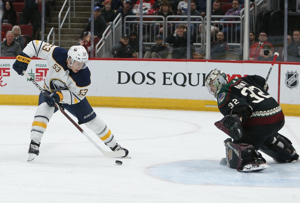 Buffalo Sabres center Jeff Skinner (53) moves in for a shot on Arizona Coyotes goaltender Antti Raanta during the third period of an NHL hockey game S