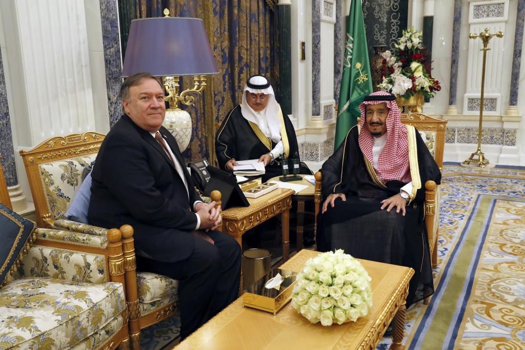 U.S. Secretary of State Mike Pompeo, left, meets with Saudi Arabia's King Salman in Riyadh, Saudi Arabia, Tuesday Oct. 16, 2018. The kingdom of Saudi