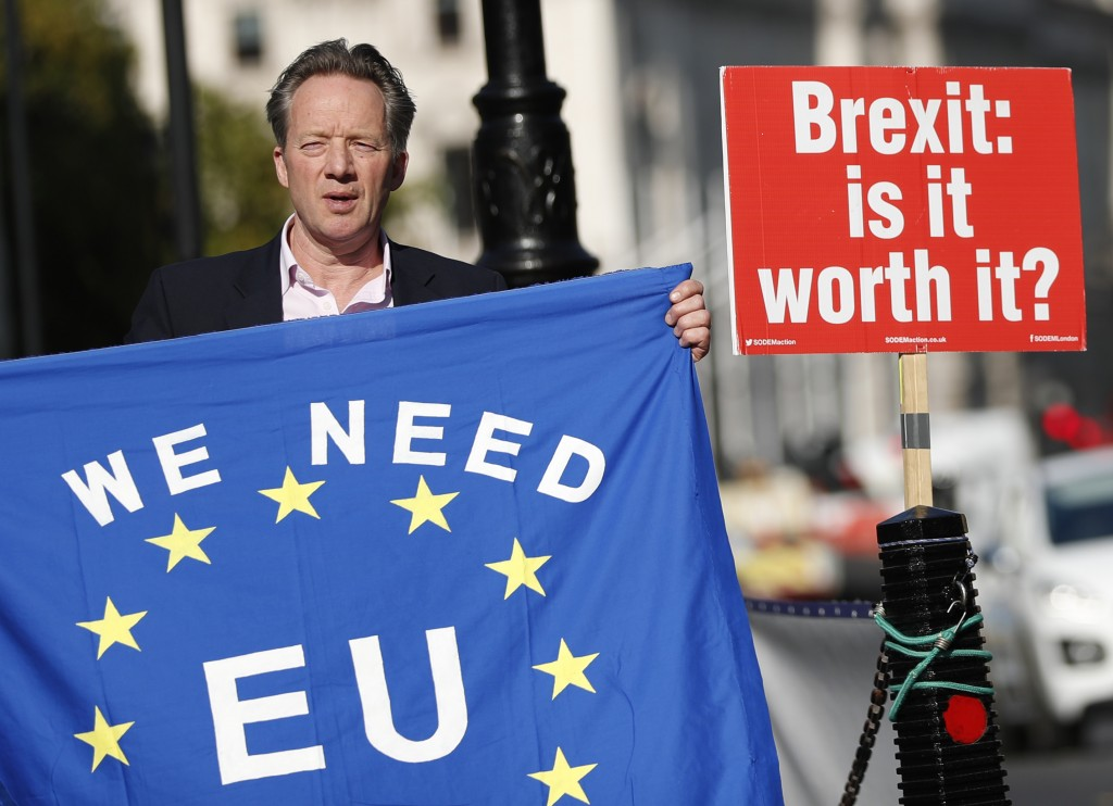 A pro-EU demonstrator holds up an EU flag to oncoming traffic outside the Palace of Westminster as the British government holds a cabinet meeting on B