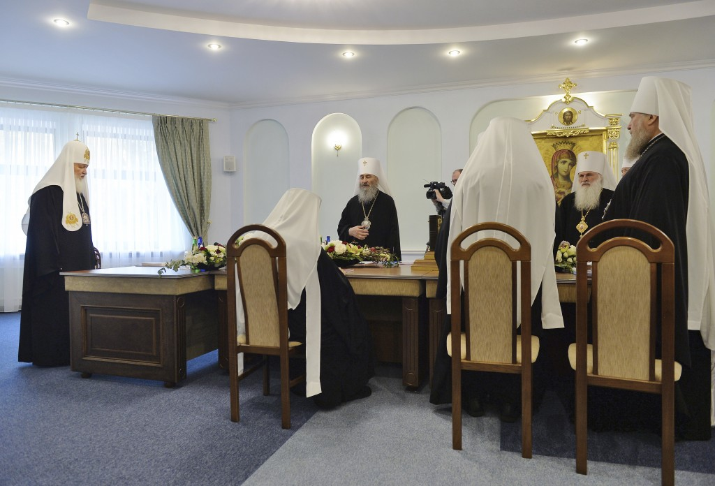 Russian Orthodox Church Patriarch Kirill left prepares to chair a meeting of the Russian Orthodox Church Holy Synod in Minsk Belarus Monday Oct