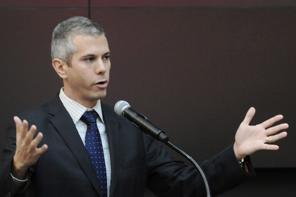 FILE - In this Nov. 19, 2014, file photo, New York State Assemblyman Anthony Brindisi speaks during a news conference in Verona, N.Y. Democrat Brindis
