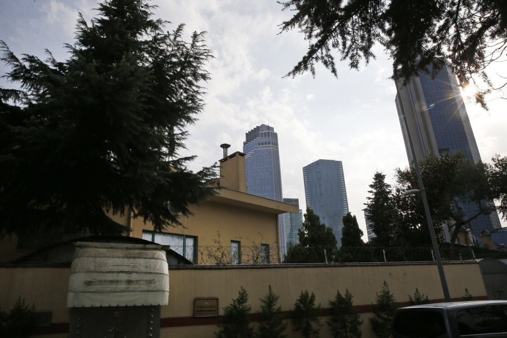 """A view of Saudi Arabia's consulate in Istanbul, Saturday, Oct. 20, 2018. Turkey will """"never allow a cover-up"""" of the killing of Saudi journalist Jamal"""