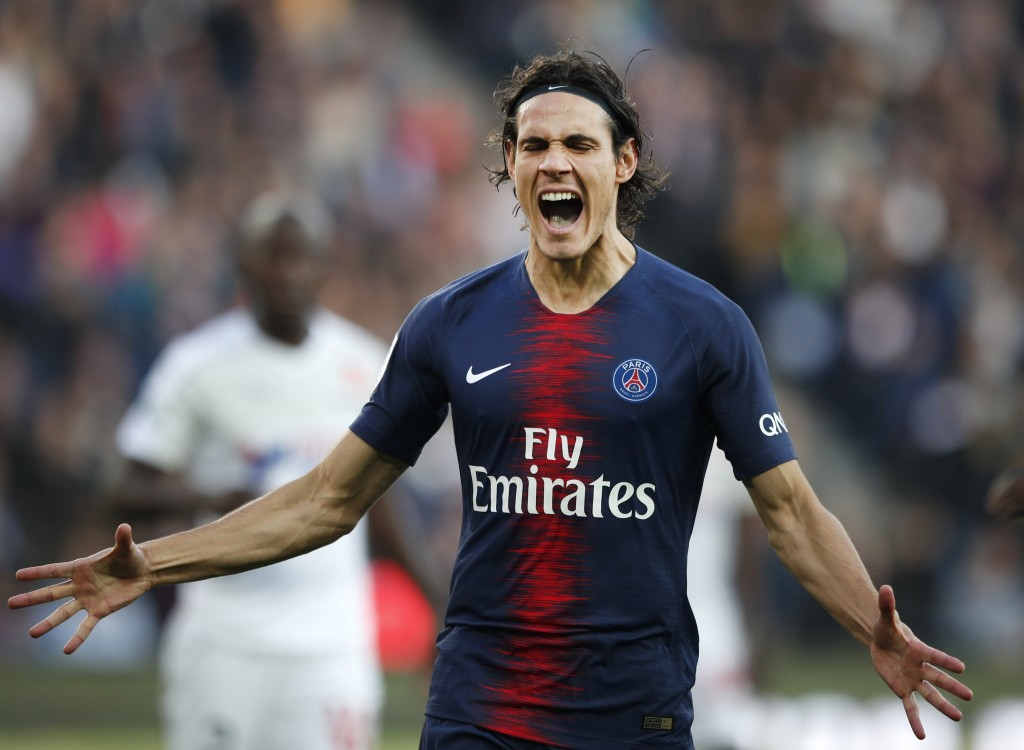 PSG's Edinson Cavani reacts after missing a chance to score during the French League One soccer match between Paris-Saint-Germain and Amiens at the Pa...