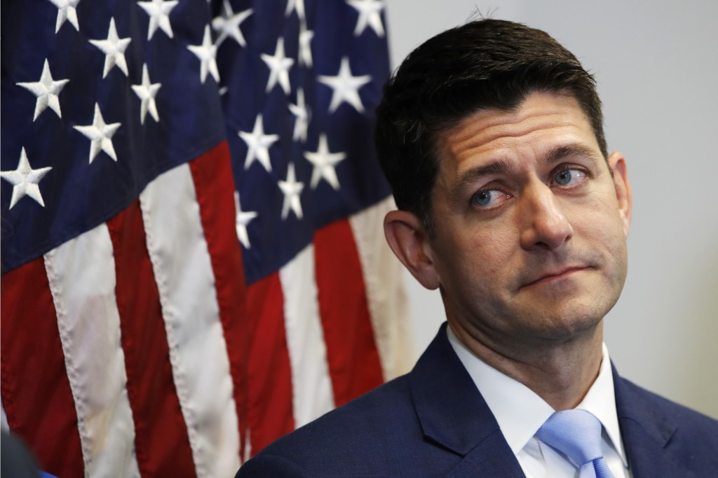 FILE - In this July 24, 2018 file photo, House Speaker Paul Ryan of Wis., attends a news conference following a GOP caucus meeting on Capitol Hill in