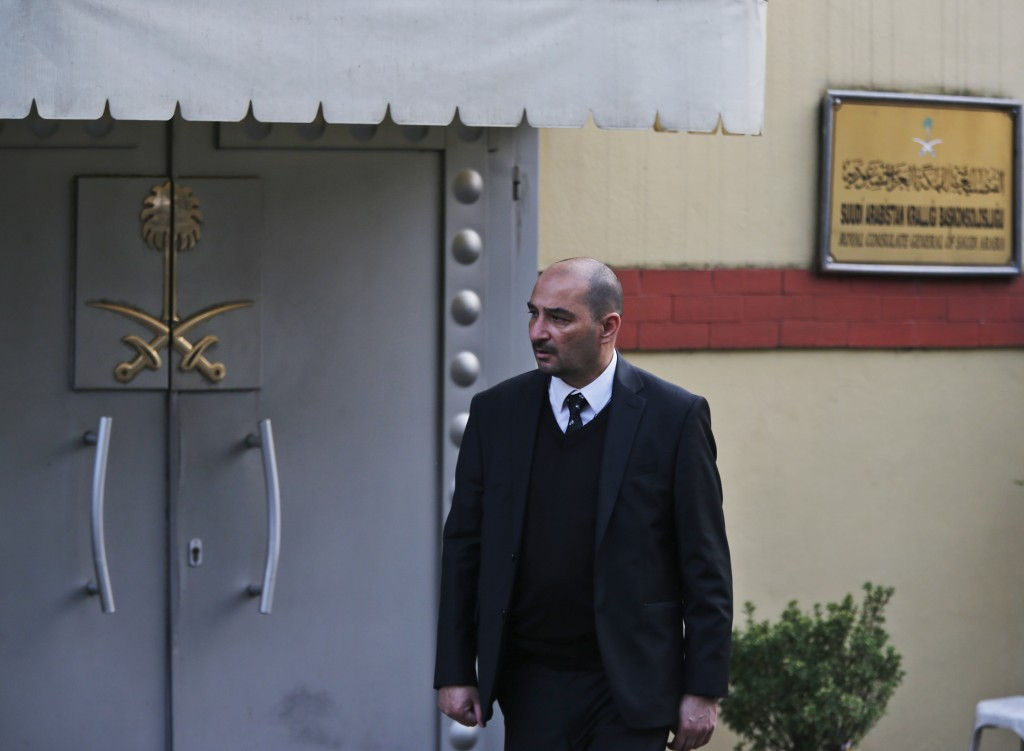 Media report outside Saudi Arabia's consulate in Istanbul, Sunday, Oct. 21, 2018. The chairman of the Senate Foreign Relations Committee says Saudi Ar