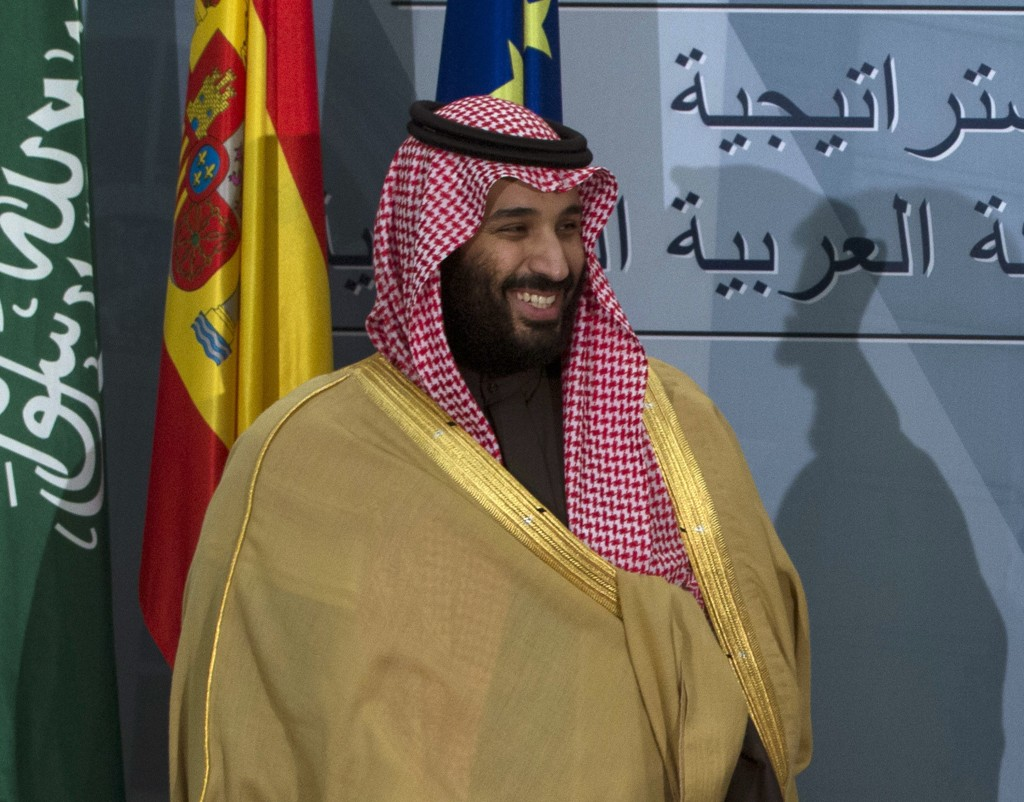 FILE - In this April 12, 2018, file photo, Saudi Crown Prince Mohammed bin Salman prepares to leave after a signing ceremony with Spain's Prime Minist...