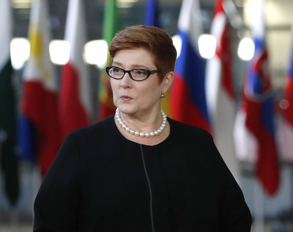 FILE - In this Oct. 18, 2018, file photo, Australian Foreign Minister Marise Payne arrives for the ASEM 12 in Brussels. Australia's foreign minister s...