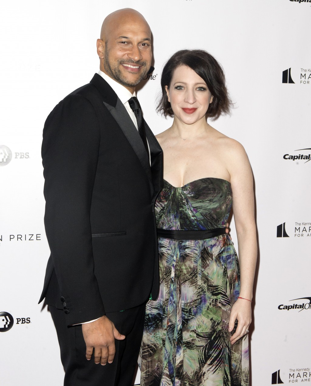 Keegan-Michael Key and his wife, Elisa Pugliese, arrive at the Kennedy Center for the Performing Arts for the 21st Annual Mark Twain Prize for America