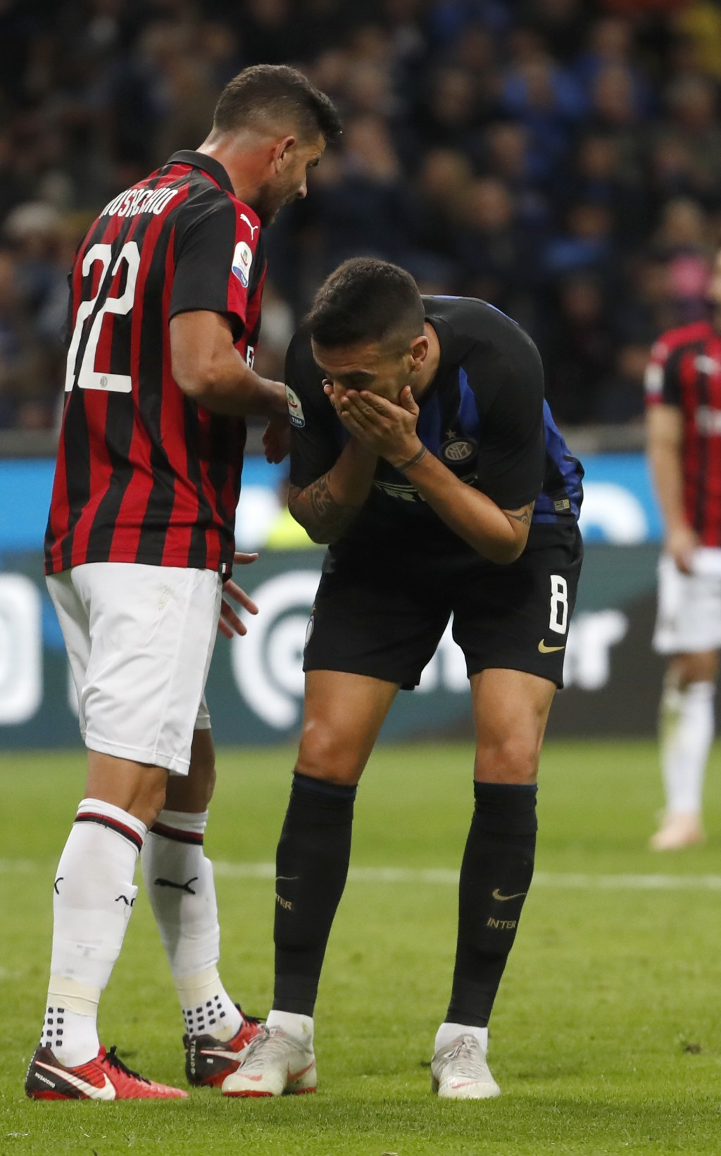 Inter Milan's Matias Vecino reacts after missing a scoring chance during the Serie A soccer match between Inter Milan and AC Milan at the San Siro Sta...