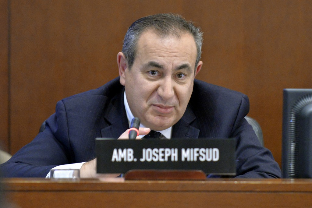 This Nov. 12, 2014 photo made available by the Organization of American States shows Maltese academic Joseph Mifsud during a meeting in Washington. It