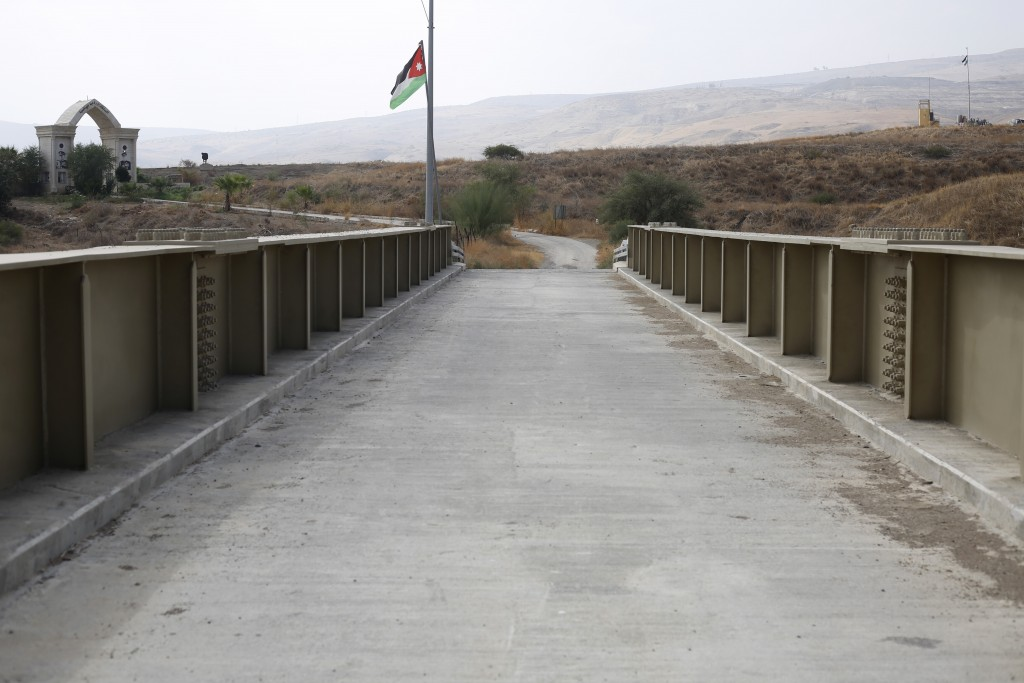 A Jordanian flag flies on a bridge leading from Israel to Jordan in the Jordan valley area called Baqura, Jordanian territory that was leased to Israe