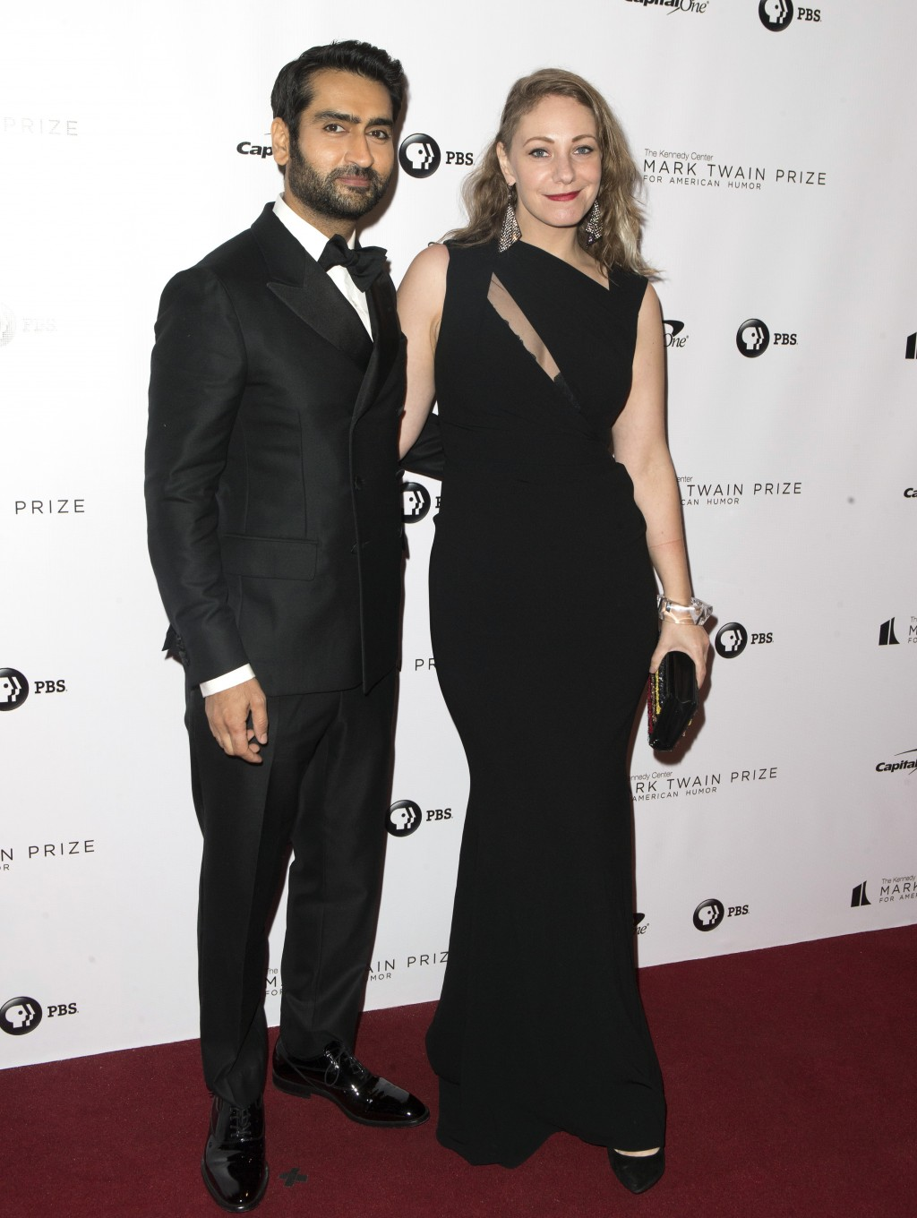 Kumail Nanjiani and his wife, Emily Gordon, arrive at the Kennedy Center for the Performing Arts for the 21st Annual Mark Twain Prize for American Hum