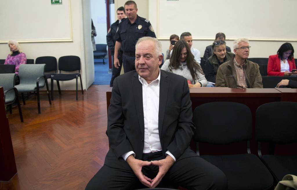 Croatia's former prime minister Ivo Sanader sits in the courtroom prior to the reading of his verdict, in Zagreb, Croatia, Monday, Oct. 22, 2018. Sana...