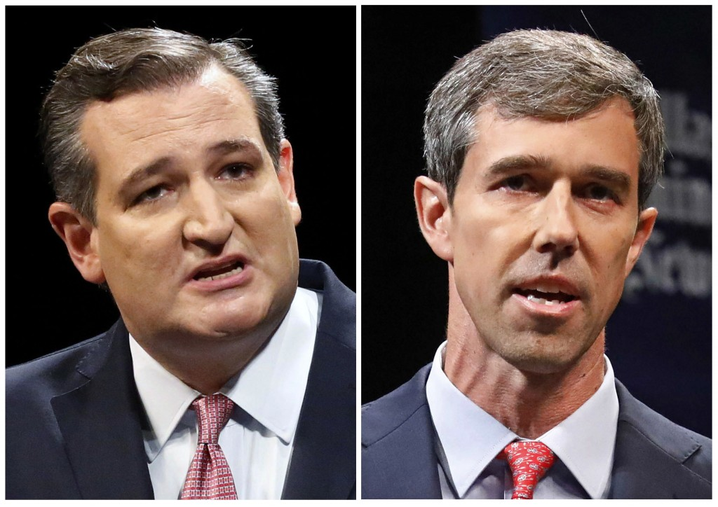 FILE - This combination of Sept. 21, 2018, file photos show Republican U.S. Sen. Ted Cruz, left, and Democratic U.S. Rep. Beto O'Rourke, right, during...