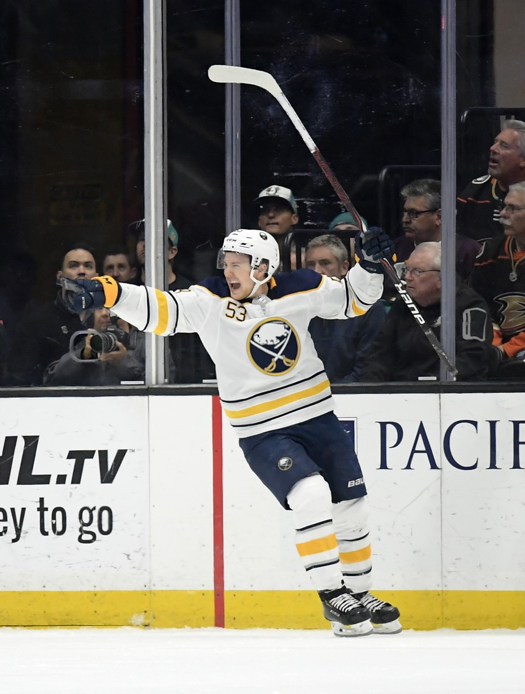 Buffalo Sabres center Jeff Skinner celebrates his goal during the second period of an NHL hockey game against the Anaheim Ducks Sunday, Oct. 21, 2018,...