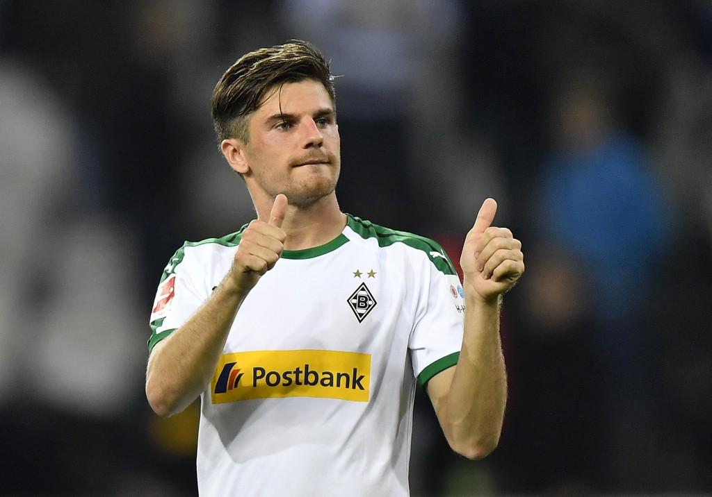 Moenchengladbach's Jonas Hofmann shows thumbs up after the German Bundesliga soccer match between Borussia Moenchengladbach and FSV Mainz 05 in Moench...