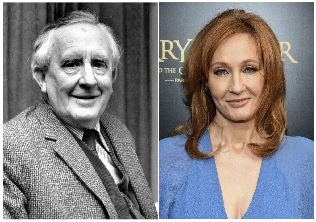 """This combination photo shows J.R.R. Tolkien, author of """"The Lord of the Rings,"""" series in 1967, left, and J. K. Rowling, author of the """"Harry Potter"""""""