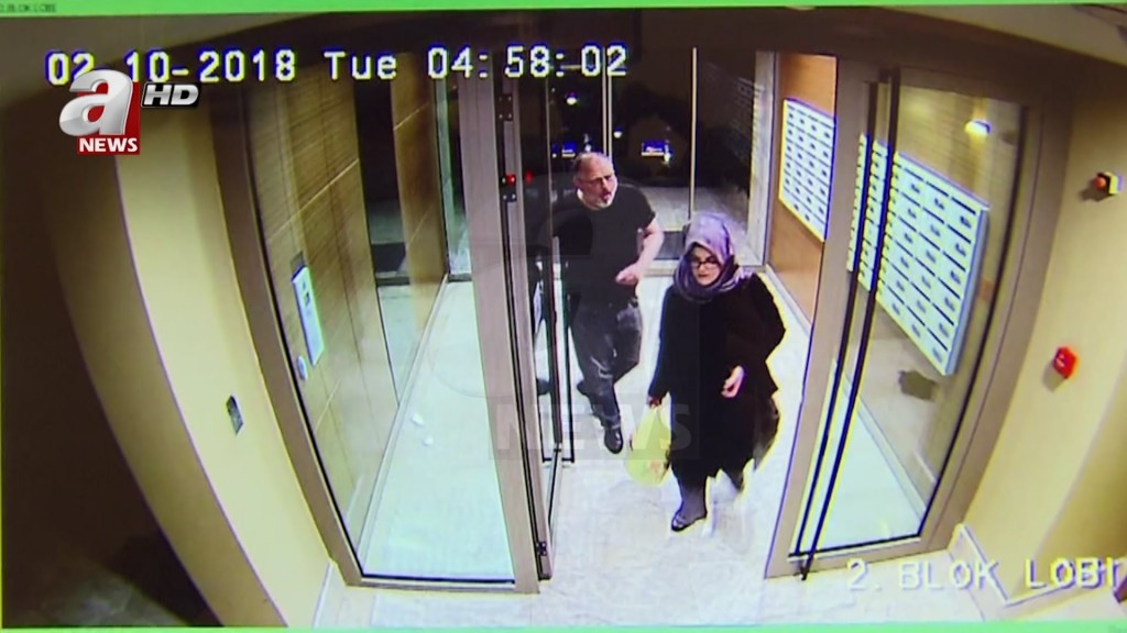 In this image taken from CCTV video that emerged Monday Oct. 22, 2018, purportedly showing Saudi writer Jamal Khashoggi and his fiancee, Hatice Cengiz