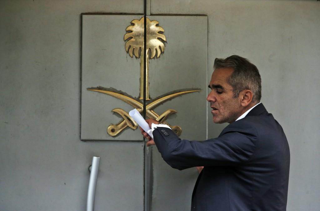 A security guard waits to enter Saudi Arabia's consulate in Istanbul, Tuesday, Oct. 23, 2018. Saudi officials murdered Saudi writer Jamal Khashoggi in...