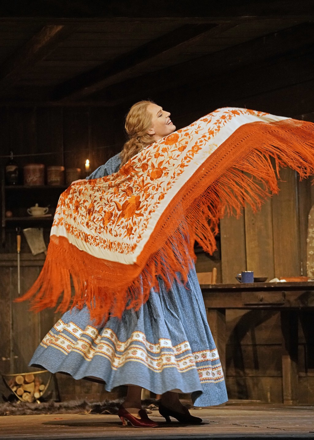This Sept. 28, 2018 photo released by the Metropolitan Opera shows soprano Eva-Maria Westbroek as the saloon keeper heroine Minnie in a scene from Puc...