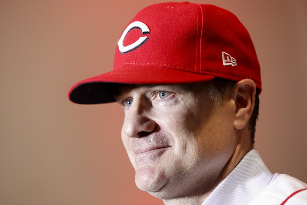 Cincinnati Reds manager David Bell is interviewed during a news conference, Monday, Oct. 22, 2018, in Cincinnati. Bell has been hired as manager of th...