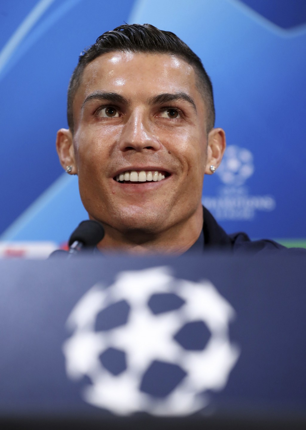 Juventus' Cristiano Ronaldo attends a press conference at Old Trafford, Manchester, England, Monday, Oct. 22, 2018. Juventus will play a Champions Lea...