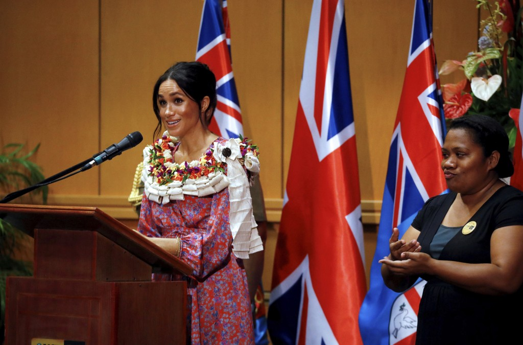 Meghan, Duchess of Sussex delivers a speech at the University of the South Pacific in Suva, Fiji, Wednesday, Oct. 24, 2018. Prince Harry and his wife ...