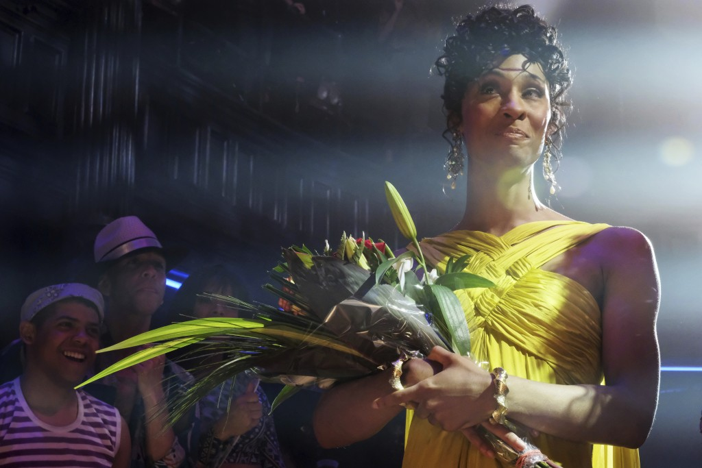 """This image released by FX shows Mj Rodriguez as Blanca in a scene from """"Pose."""" A study says there are a record number of LGBTQ characters on network T..."""