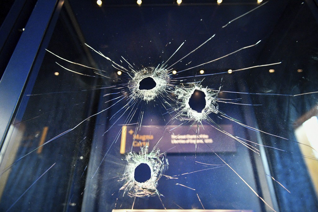 Hammer holes in the glass case that housed the Magna Carta, at Salisbury Cathedral after a 45-year-old man has been arrested on suspicion of its attem...